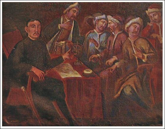 Марко Мартиновић из Пераста, учитељ руских помораца у доба Петра Великог, 1698. г, детаљ