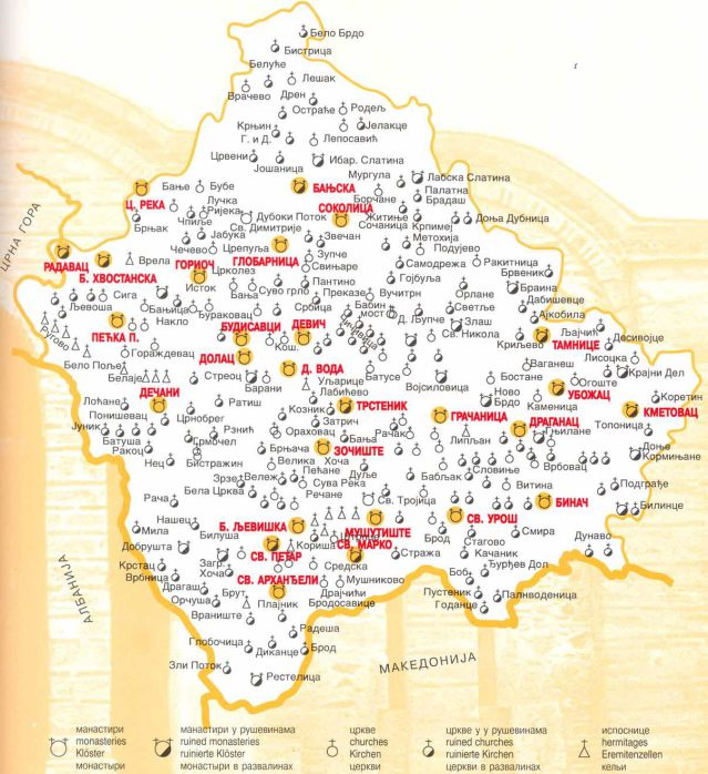 srpski manastiri i crkve na KiM