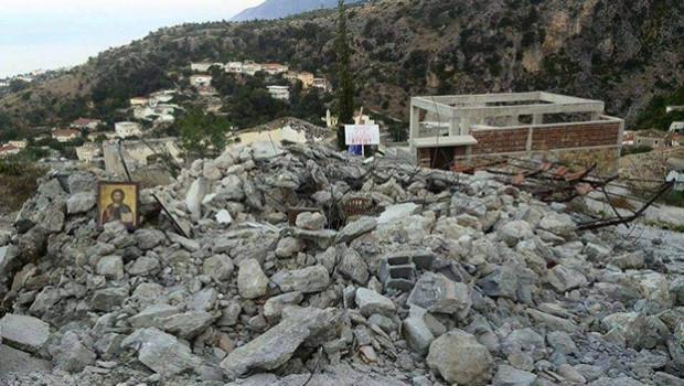 Православни храм Светог Атанасија у Москопољу у Албанији, порушен од стране државе Албаније