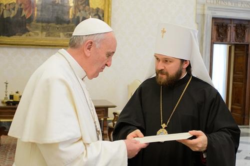 -SS. Francesco-Metropolita Hilarion , del Patriarcato di Mosca 20-03-2013 - (Copyright L'OSSERVATORE ROMANO - Servizio Fotografico - photo@ossrom.va)