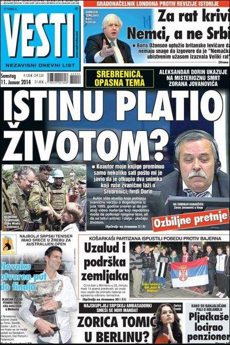 """Пре пар година је Зоран Јовановић, коаутор Доринове књиге 'Сребреница - како се заиста збило', у Србији умро под """"чудним околностима""""."""