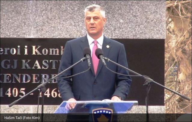 """На свечаној церемонији испред споменика Скендербегу, данас је инаугурисан такозвани """"председник"""" лажне """"државе Косова"""" Хашим Тачи."""