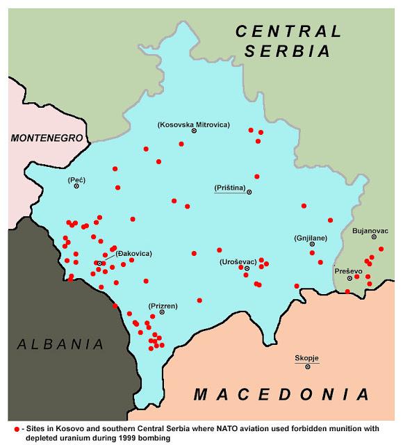 Мапа са местима где су употребљени пројектили са осиромашеним уранијумом, према информацијама које је НАТО пружио