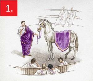 Инцитат Најомиљенији коњ злогласног римског цара Калигуле, Инцитат (лат. Брз), наводно је имао мраморну стају, корито од слоноваче, пурпурне покриваче (та је боја у старом Риму била знак моћи и аристократије), те оковратник од драгог камења. Калигула је наводно на врхунцу лудила прогласио Инцитата римским грађанином, а затим га обасипао разним почастима, намјеравајући га прогласити конзулом, но убијен је пре него што је успео да изврши ту намјру. Унаточ томе, Инцитат је остао запамћен као коњ-конзул. Вреди напоменути да неки историчари сматрају да је Калигула споменутим чином у ствари желео да понизи сенаторе.