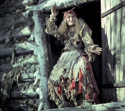 """Movie """"Father Frost"""" directed by Aleksandr Rou. Gorky Film Studios. 1964. USSR. In the picture: Georgy Millyar as Baba Yaga."""