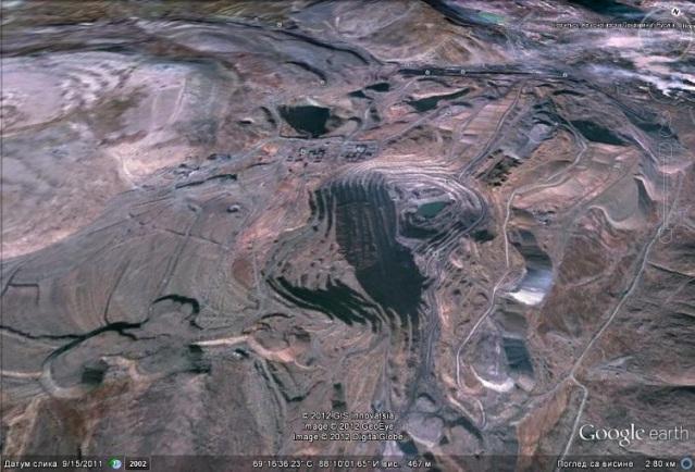 Норилск, рудник никла у Русији, Фото: Google earth