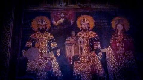Фреска српских краљева Драгутина и Милутина у храму Св. Ахилија у Ариљу