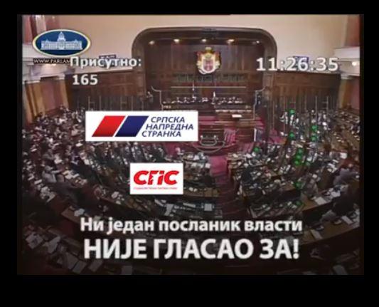 """ФЕНОМЕН СРПСКЕ ПОЛИТИКЕ: Ни један посланик власти није гласао """"ЗА"""" (ВИДЕО)"""