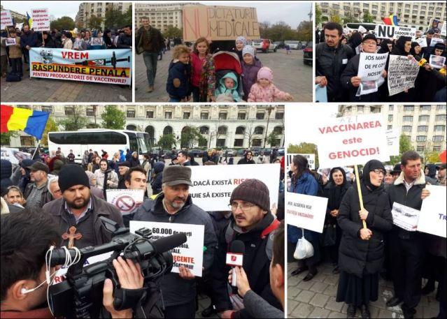 РУМУНИЈА: Велики протест против обавезне вакцинације – Људски ланац око парламента (фото, видео)